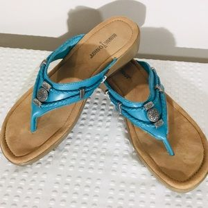 Minnetonka Leather Teal Silver Bling 9 Sandals